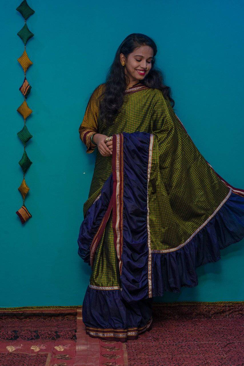 Mustard green khunn saree with blue ruffle border - WEAR COURAGE
