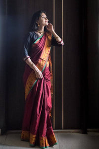 Maroon ilkal saree with zari border - WEAR COURAGE