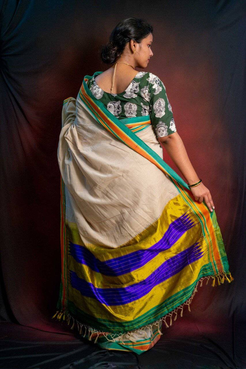 Grey handwoven cotton ilkal saree - WEAR COURAGE