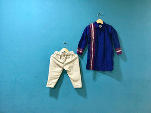 Boy's Blue Khunn Kurta and Cream Pant