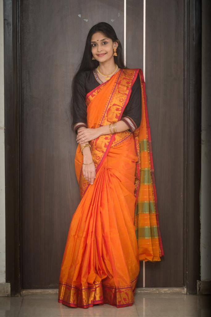 Orange cotton silk ilkal saree