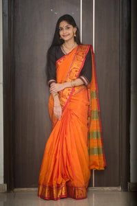Orange cotton silk ilkal saree - WEAR COURAGE