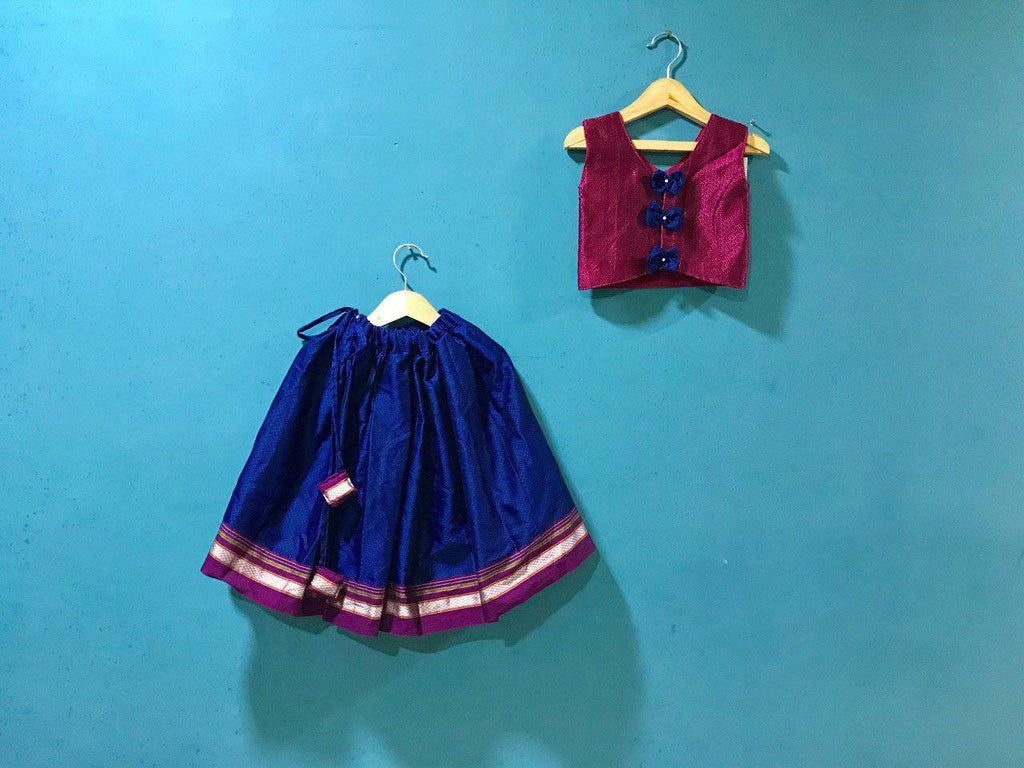 Girls Pink and Blue khunn parkar polka with bow at back and magenta Border - WEAR COURAGE