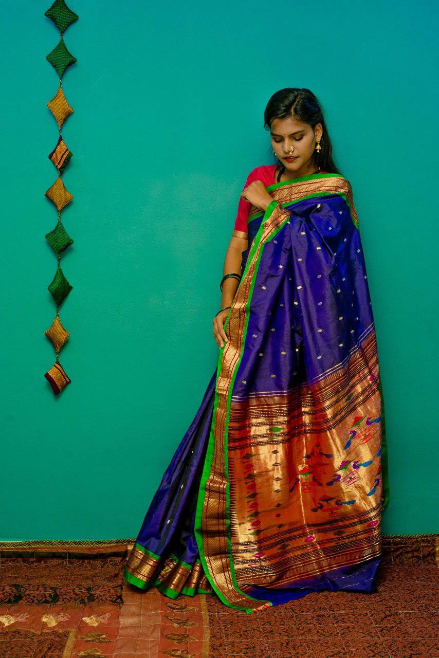 Blue handwoven paithani saree