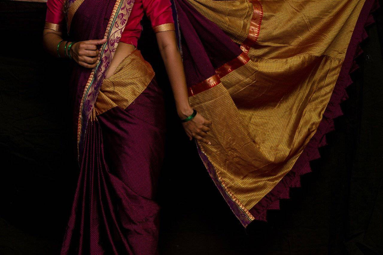 Magenta khunn saree with paithani border