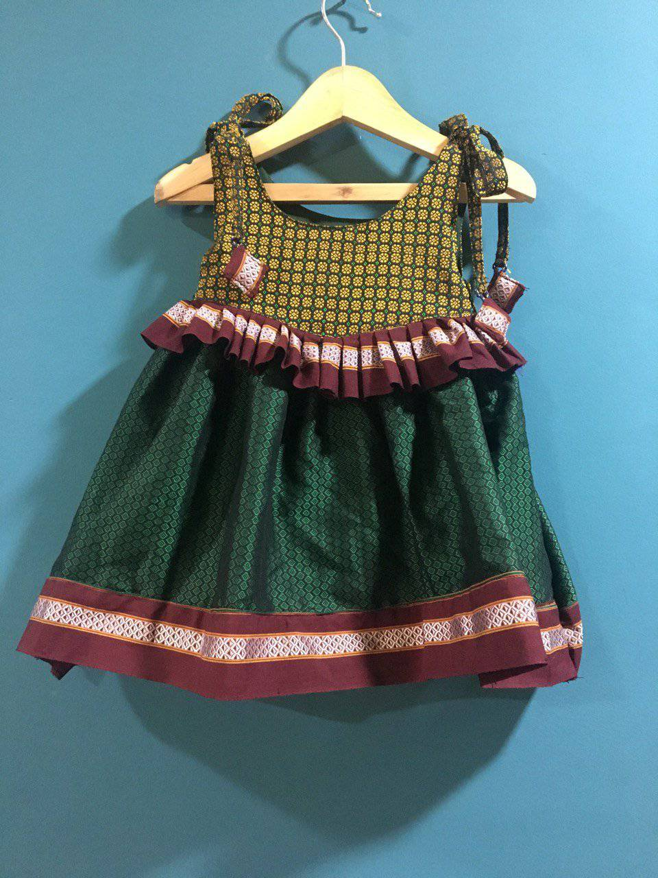 Girls Mustard and Green Khunn frock with Spaghetii top