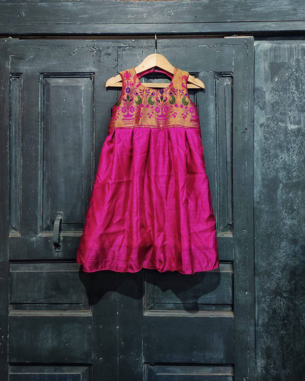Girls Pink Paithani frock - WEAR COURAGE