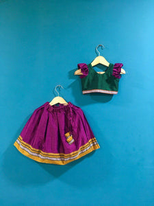 Girls Green and Pink Khunn parkar polka with frill sleeves and Mustard Border - WEAR COURAGE