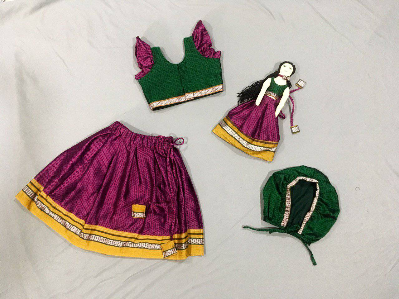 Kids fabric doll with green and pink khunn parkar polka - WEAR COURAGE