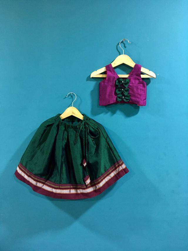 Girls Pink and Green khunn parkar polka with bow at back and Brown Border - WEAR COURAGE