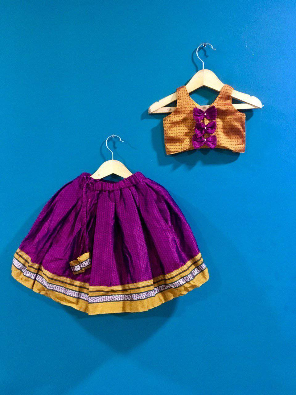 Girls Golden and Pink khunn parkar polka with bow at back and Mustard Border - WEAR COURAGE