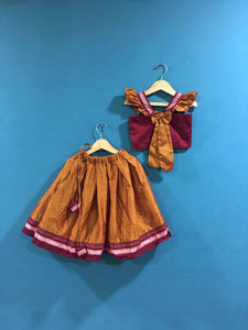 Girls Red and Yellow Khunn parkar polka with frill sleeves and bow at back - WEAR COURAGE