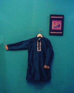 Boy's peacock green khunn kurta