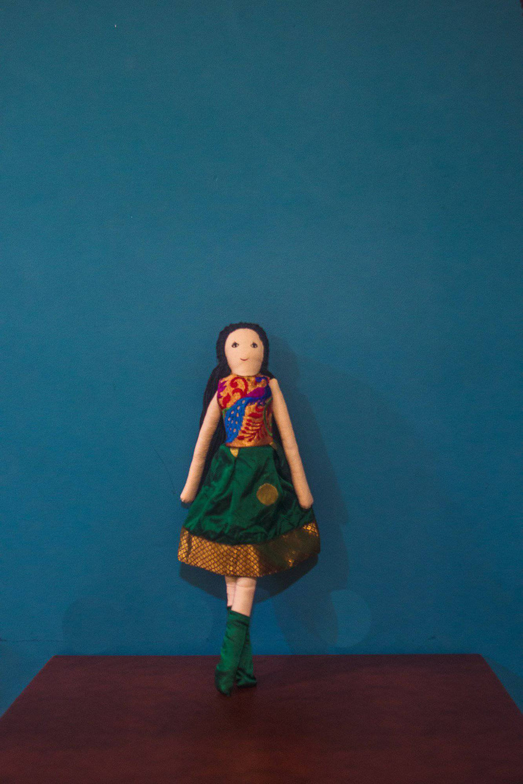 Kids fabric doll with rich green paithani frock - WEAR COURAGE