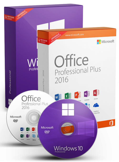 Microsoft Windows 10 Pro + Office Professional Plus 2016 als Set