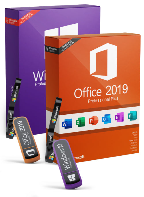 Microsoft Windows 10 Pro + Office Professional Plus 2019 als Set