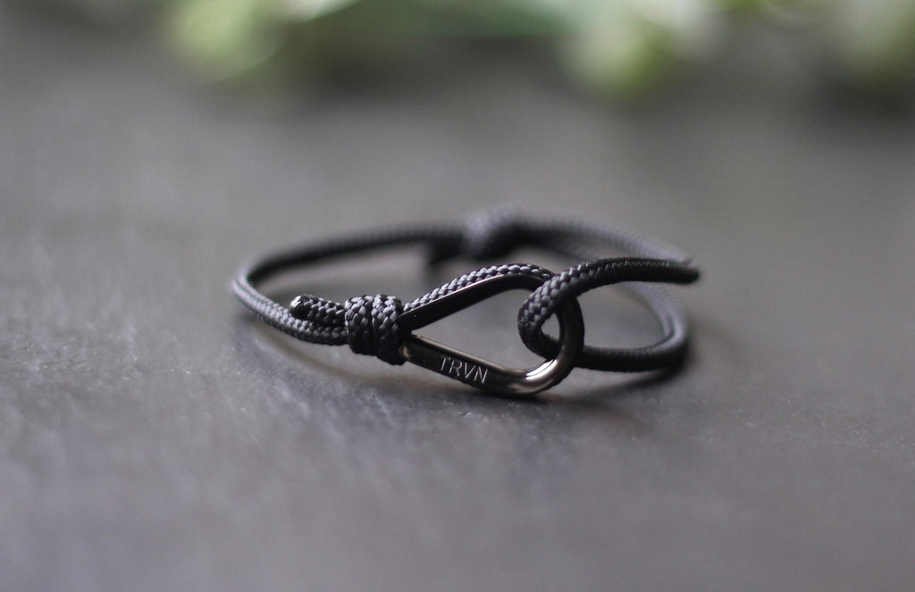 UNISEX Rope Bracelet in Charcoal Black Color