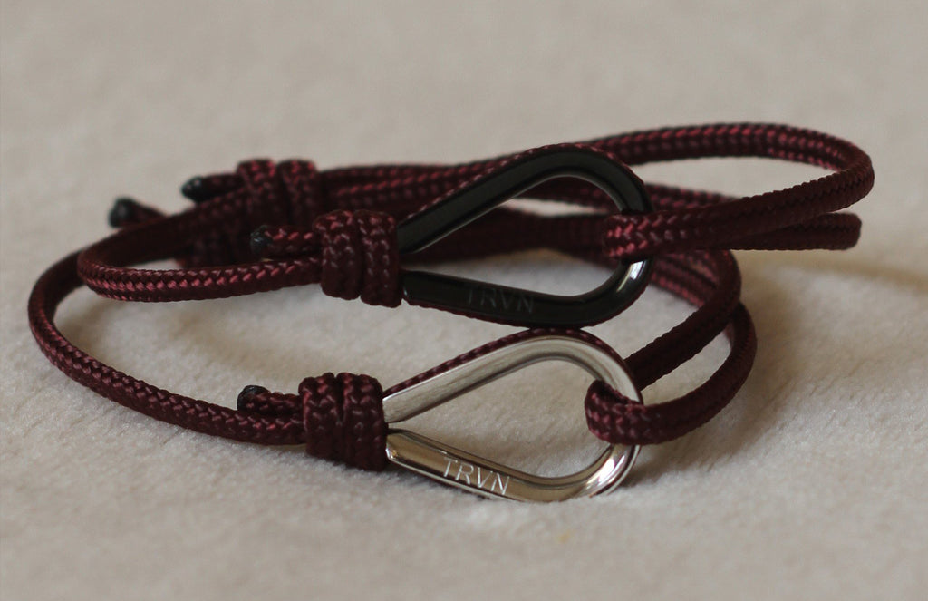 Rope Bracelets for Couple in Burgundy Color