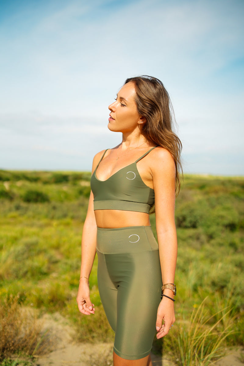 V-Neck sports bra - Turtle green