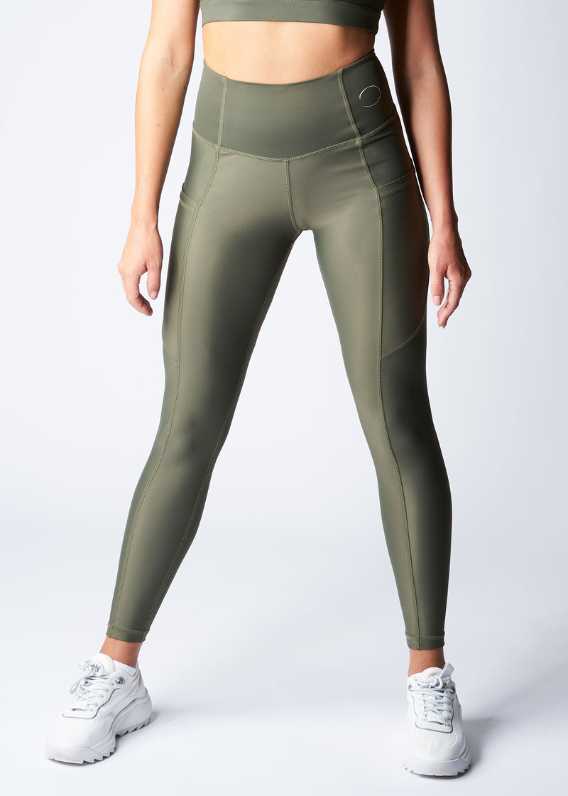 Leggings with pockets - Turtle green - Save The Wave