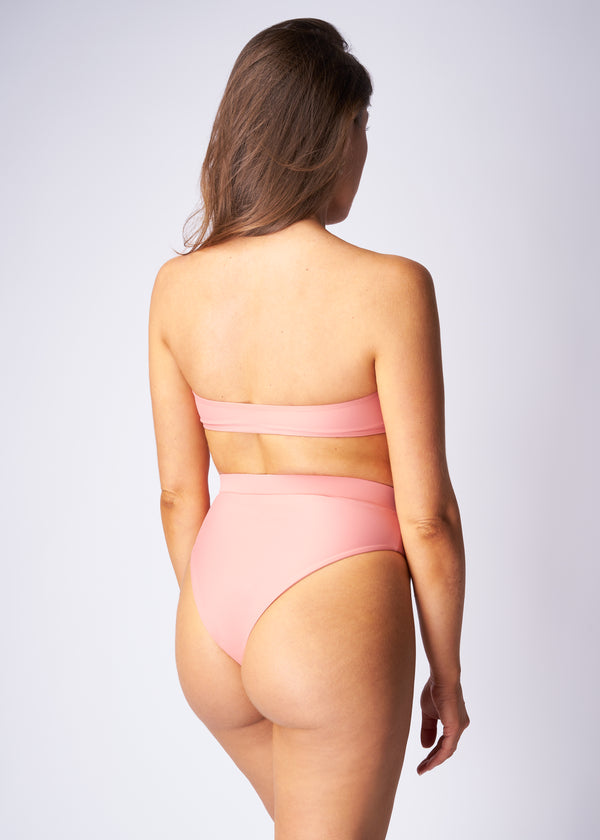 Bandeau bikini top - Coral pink - Save The Wave
