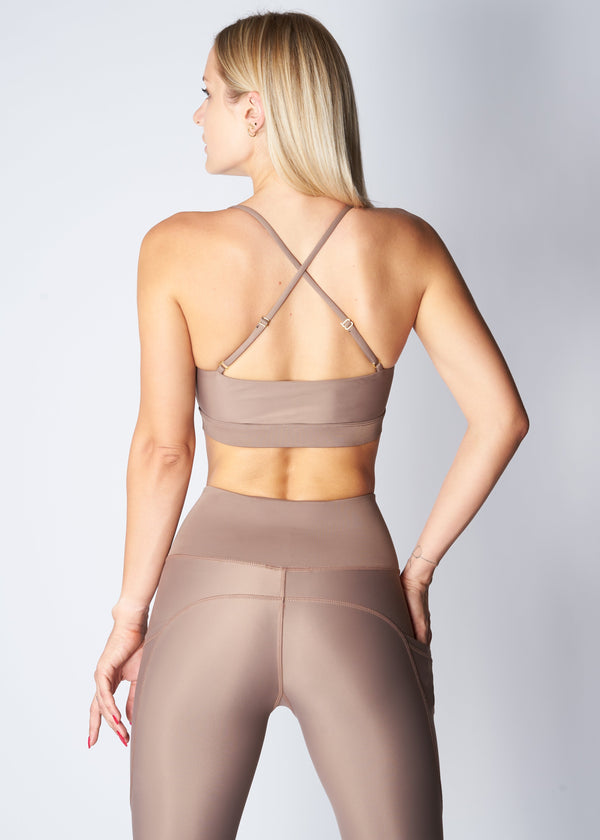 Cross-back sports top - Soft tan - SAVE THE WAVE ®