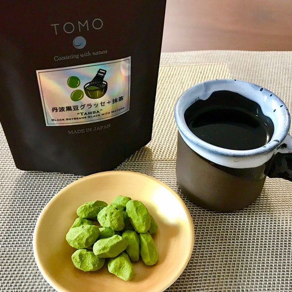 Tanba Black Soybeans Glacé with Matcha