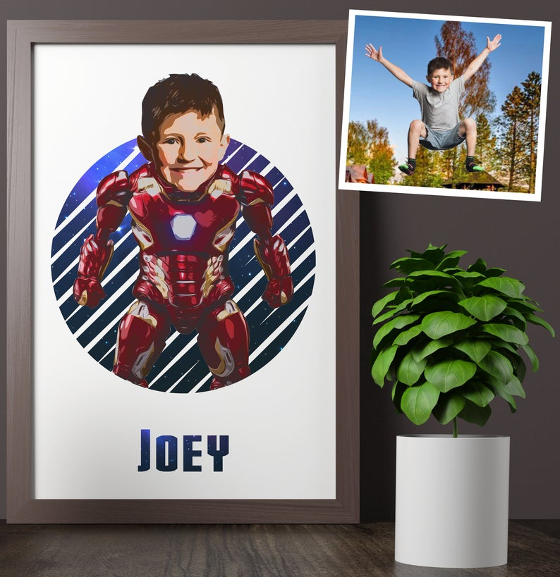 Personalized Iron Man Kid Portrait