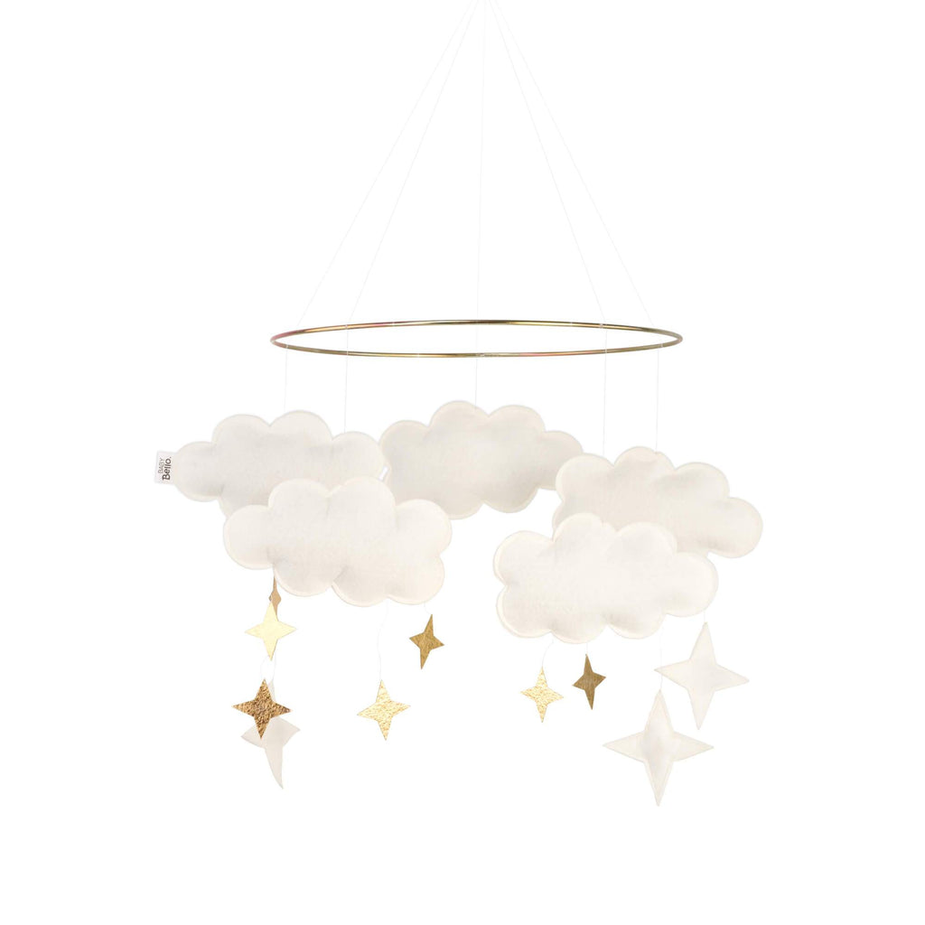 Baby Bello - Fantasy Clouds Mobile - Pearl White Baby Bello