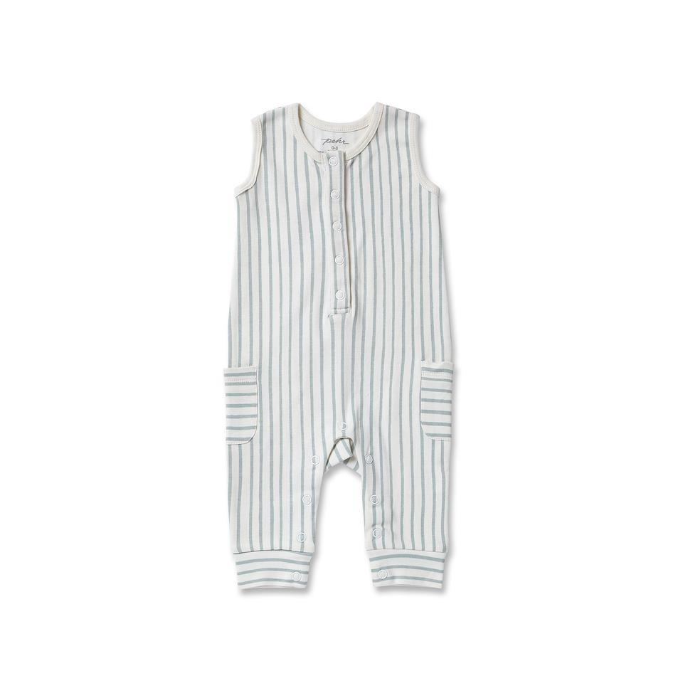 Pehr - Stripes Away Sleeveless Romper - Sea Pehr