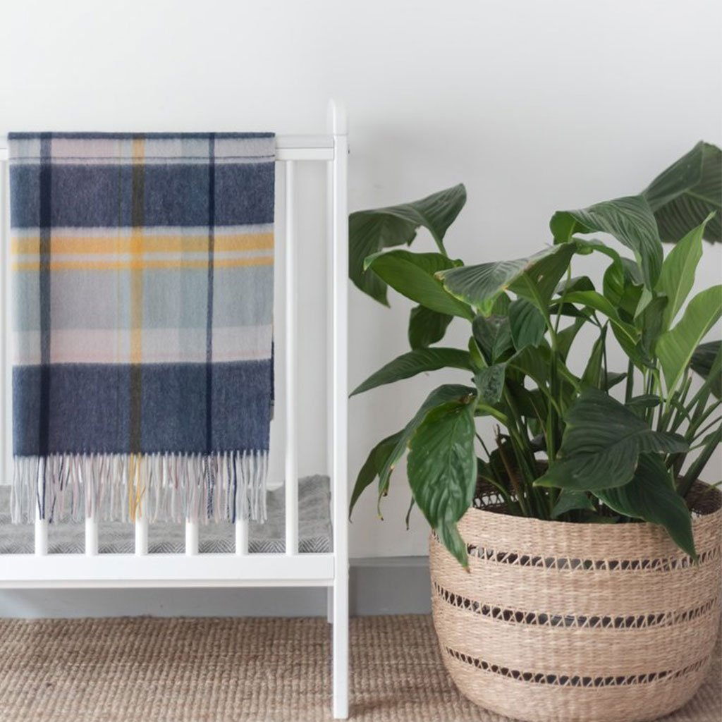 The Tartan Blanket Co. - Super Soft Lambswool Baby Blanket - Dusky Pink & Navy Multi Check The Tartan Blanket Co.