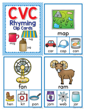 Load image into Gallery viewer, CVC Rhyming Activity Clip Cards