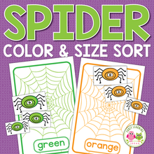 Load image into Gallery viewer, Spider Color & Size Sorting Activities
