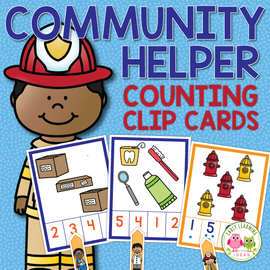 Community Helpers Counting Clip Cards