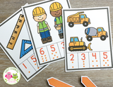 Construction Counting Clip Cards