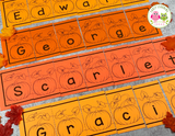 Editable Name Practice Puzzles - Pumpkin Patch Name Puzzles