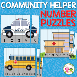 Community Helpers 1-15 Number Puzzles