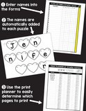 Editable Name Practice Puzzles - Heart Puzzles