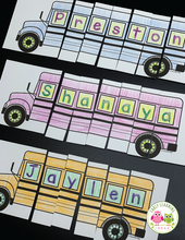 Load image into Gallery viewer, Editable Name Practice Puzzles - School Bus Puzzles