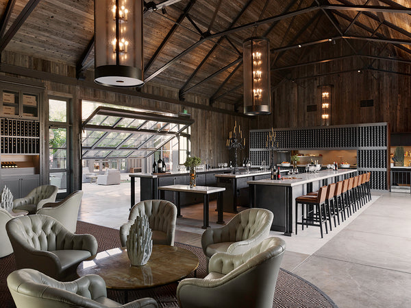 Upscale rustic interior view of a Ram's Gate Winery tasting room