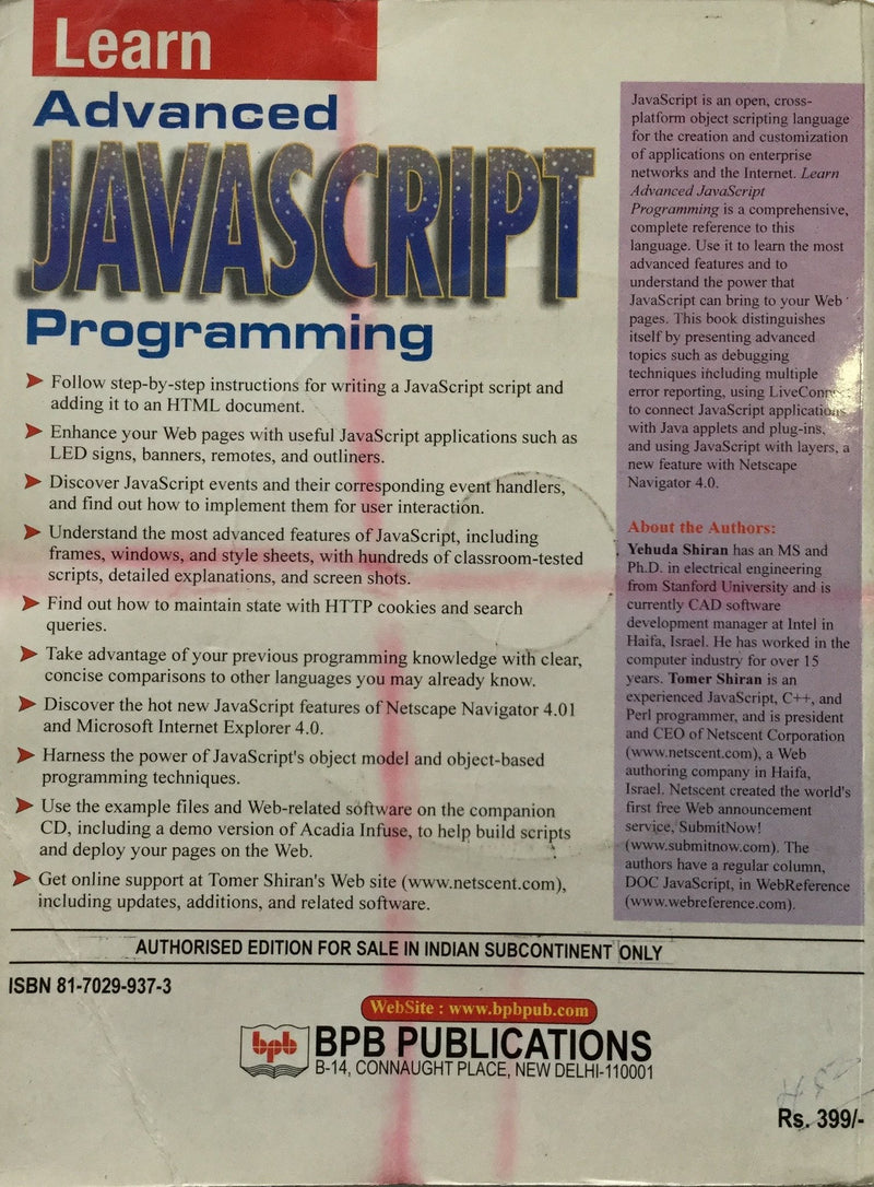 Learn Advanced Java Script Programming  books