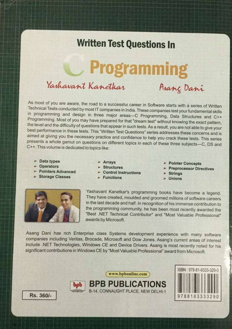 Written Test Questions in C Programming online book store