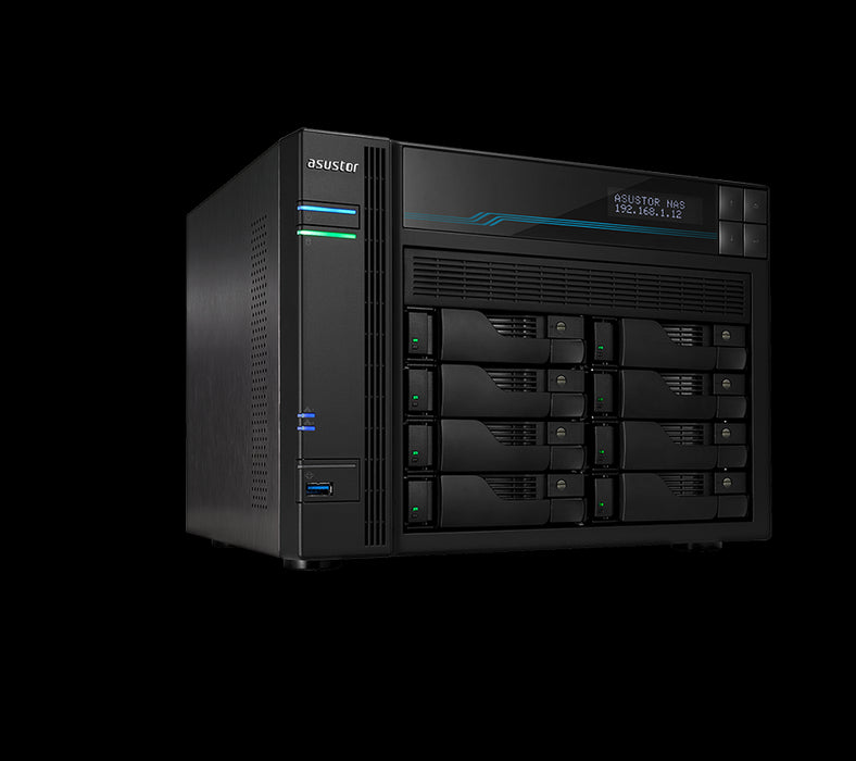 Asustor AS6508T 8 Bay Lockerstor 8 NAS Intel Atom C3538 Quad Core 2.1GHz 8GB DDR4 2x2.5GbE 2x10GbE 2xM.2PCIE 2xUSB3.2Gen1 WoW Snapshot Virtualization