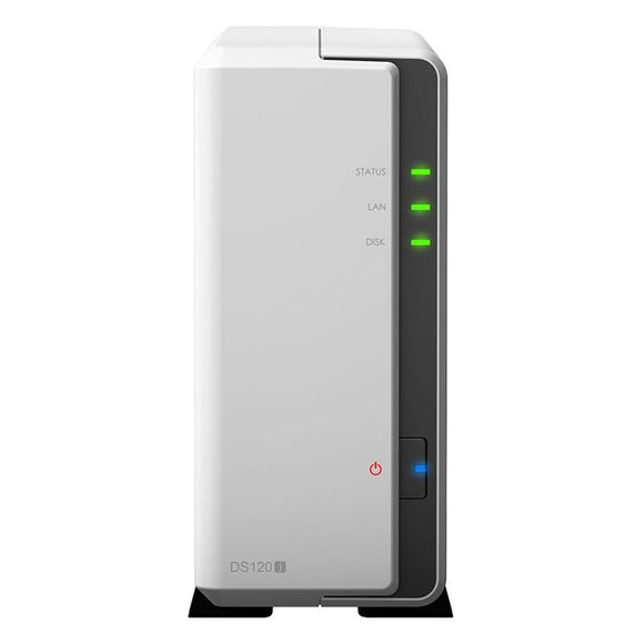 Synology DiskStation DS120j 1-Bay 3.5' Diskless 1xGbE NAS (Tower) (SOHO), Marvell 800MHz, 2xUSB2 - 2 Years Warranty - Comes with 2 Camera Licenses.