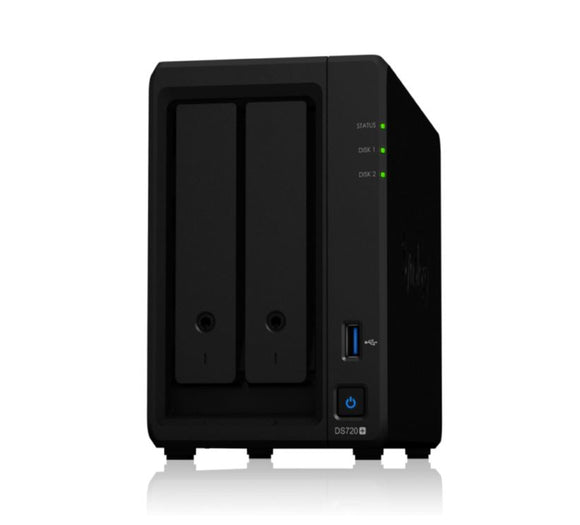 Synology DiskStation DS720+ 2-Bay 3.5' Diskless 2xGbE NAS (Scalable) (SMB),Intel Celeron 1.5GHz quad-core, 2GB RAM, 3xUSB3, eSATA upto 40