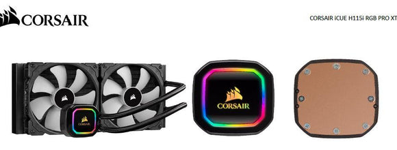 Corsair Hydro H115i RGB PRO XT 280mm Liquid CPU Cooler. Intel 1200, 1150x, 2011, 2066, AM3, AM2, AM4, TR4, sTRX4, sTR4. 5 Years Warranty
