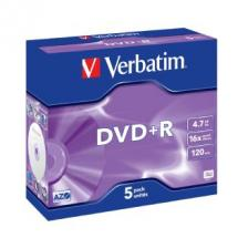 Verbatim DVD+R 16X Jewel 5pk 4.7GB