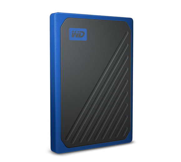 WD My Passport Go 2TB External Portable SSD 400 MB/s USB3.0 Tough Durable Drop Resistant Built-in Cable Cobalt Blue for PC Mac 3yrs