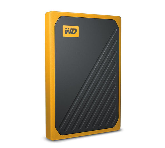 WD My Passport Go 500GB External Portable SSD 400 MB/s USB3.0 Tough Durable Drop Resistant Built-in Cable Amber Yellow for PC Mac 3yrs