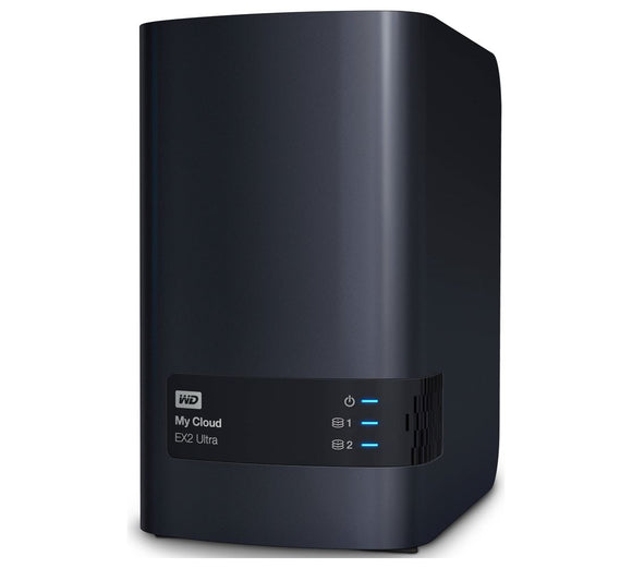 Western Digital WD My Cloud EX2 Ultra 2 Bay NAS 16TB Red 1.3GHz Dual-Core 1GB DDR3 RAID 2xUSB3.0 GbE LAN Auto Backup Sync 256 AES Encrypt Windows MAC